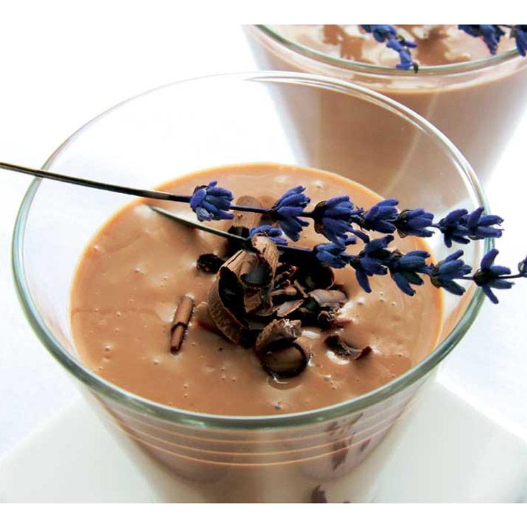 Crema de chocolate, lavanda y miel