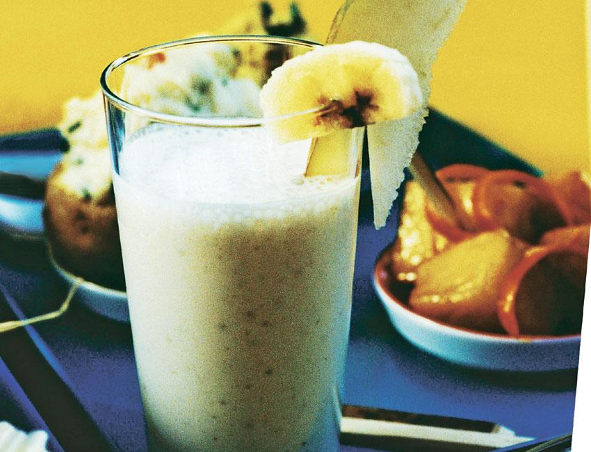 Leche helada con pera y plátano