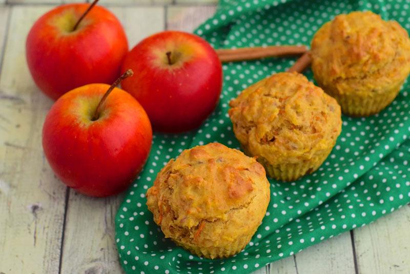 'Muffins' de avena y manzana