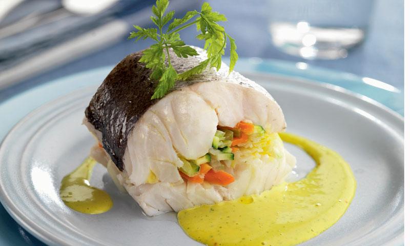 Merluza rellena de verduras con salsa de azafr n - Escuela de cocina azafran ...