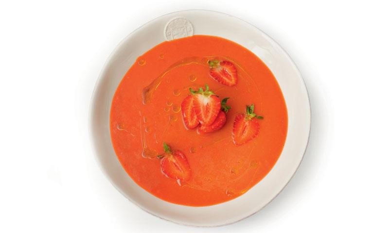 Gazpacho de tomate y fresa