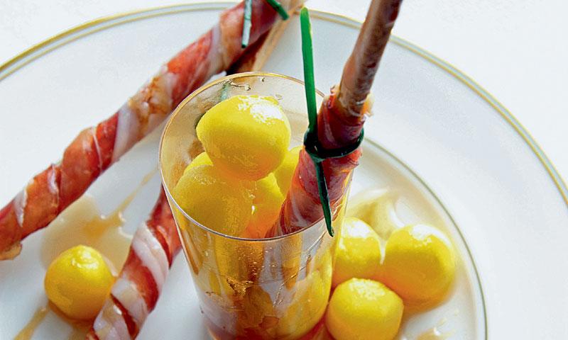 Melón con jamón al vino de Oporto