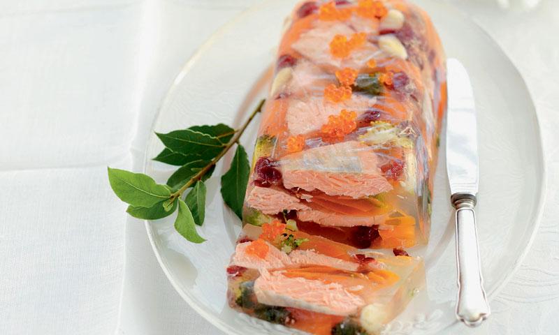 Áspic de salmón y verduritas
