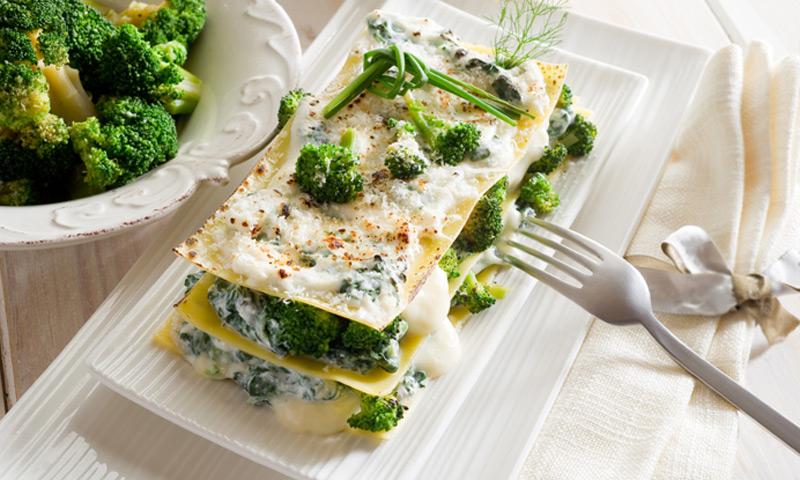 Lasaña de brócoli y acelgas