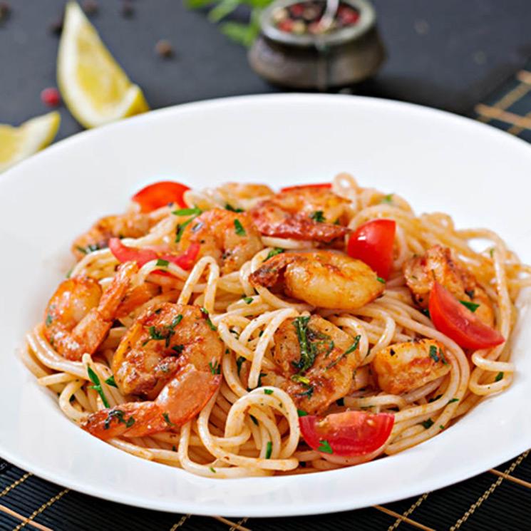 Espaguetis Con Gambas Rojas
