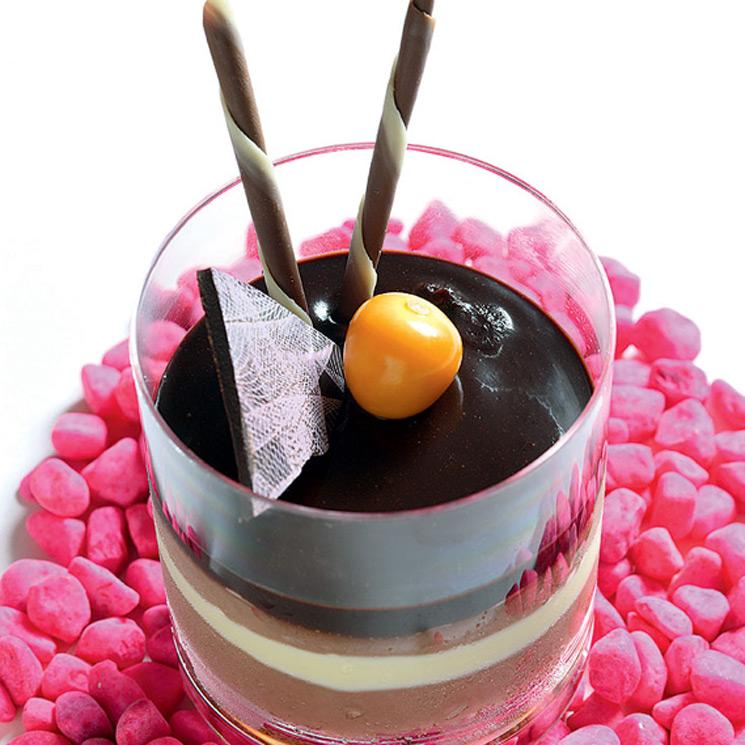 Vaso de tres chocolates