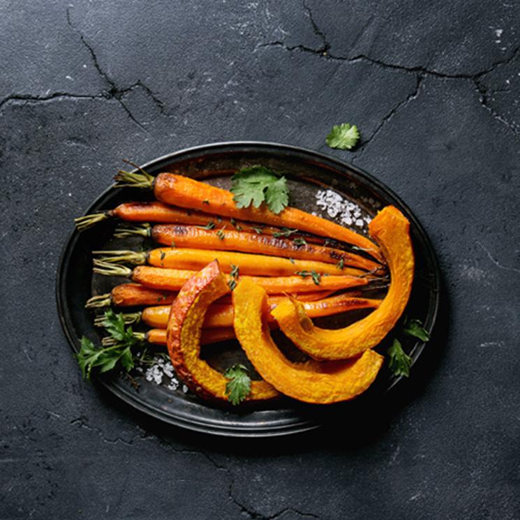 Calabazas y zanahorias asadas