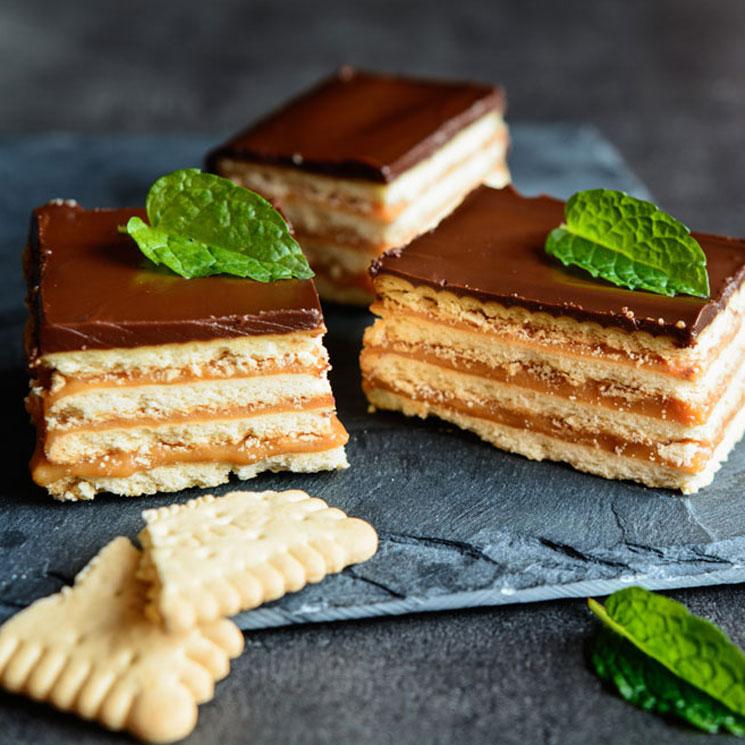 Tarta de galletas con chocolate y 'toffee'