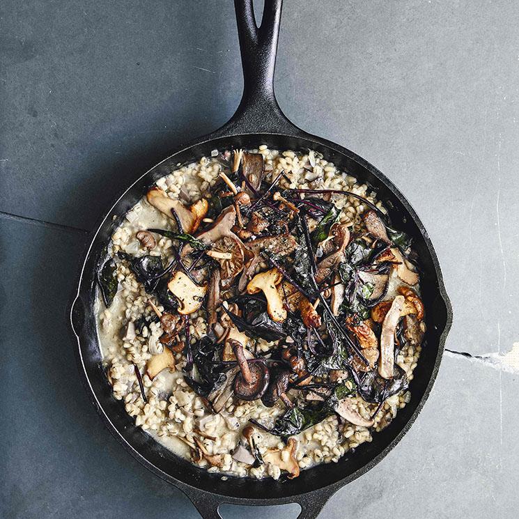 'Porridge' de cebada con setas