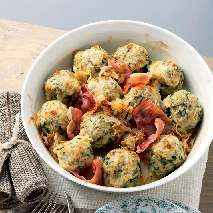 Albóndigas de espinacas con jamón