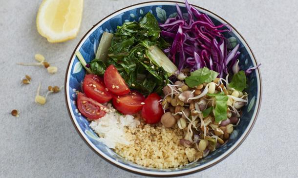Ensalada templada de tabulé y arroz
