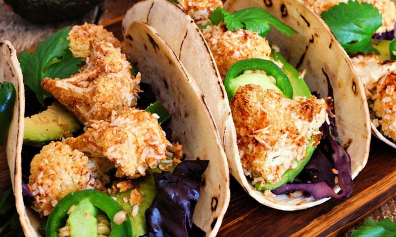 Tacos de coliflor con coco