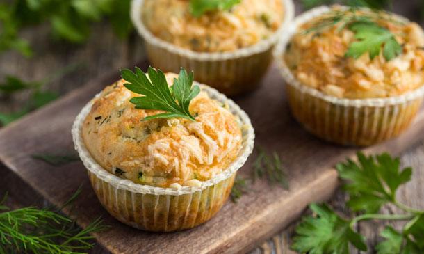 'Muffins' de calabacín con queso de cabra