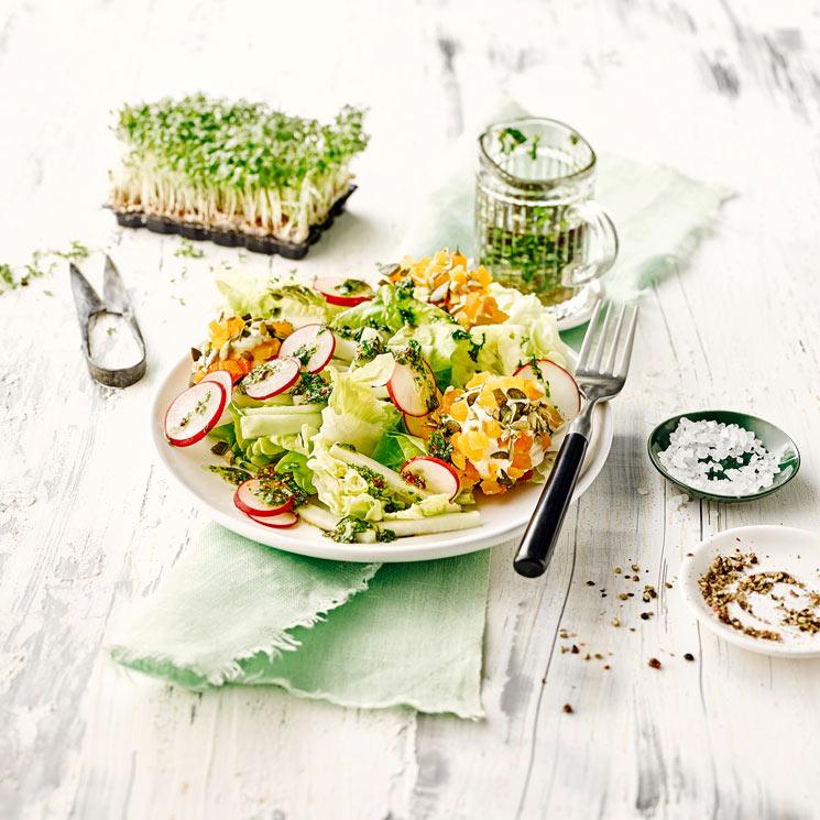 Ensalada de primavera con vinagreta de hierbas