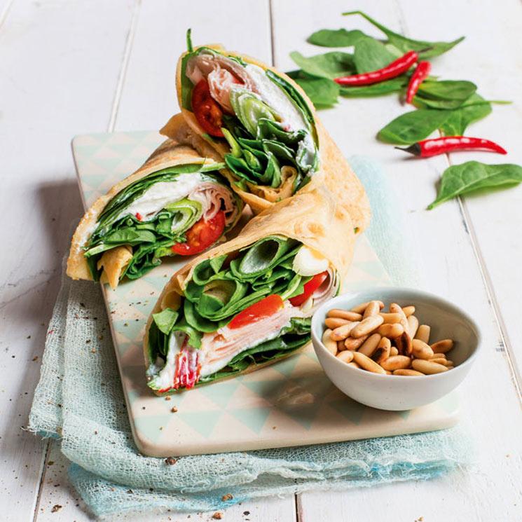 'Wrap' de queso y espinacas