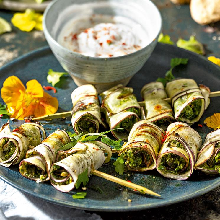 Pinchitos vegetarianos de berenjena