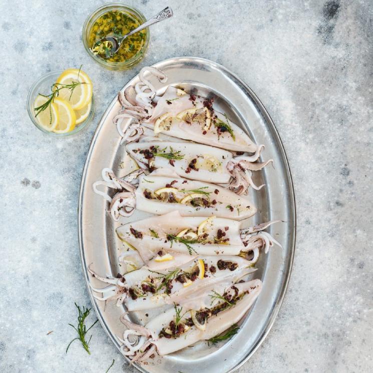 Calamares a la plancha con vinagreta mediterránea