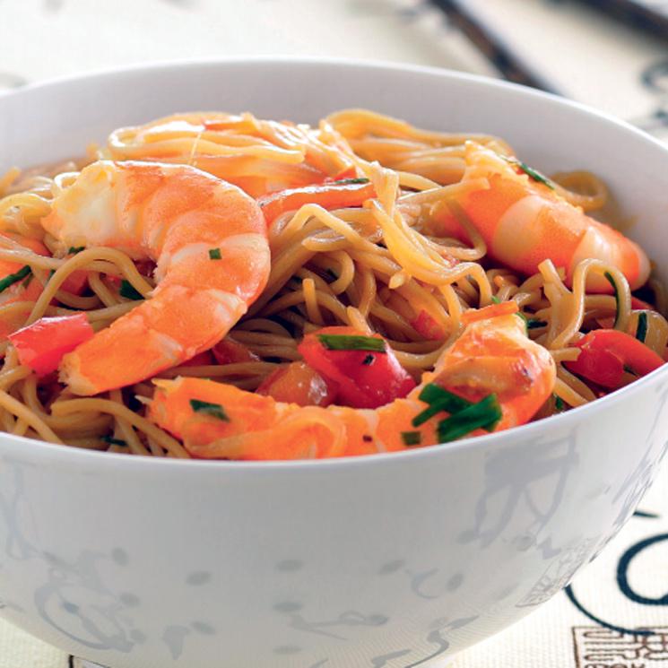 'Noodles' con langostinos