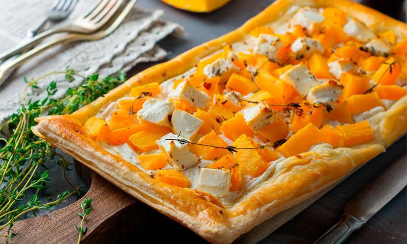 Tarta de calabaza, queso feta y ricota