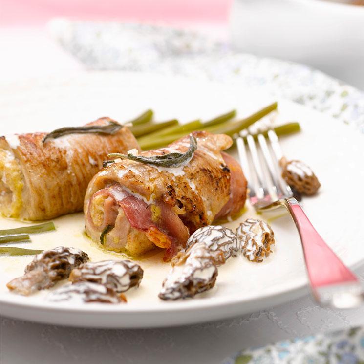 'Saltimbocca' de cerdo ibérico con setas a la crema