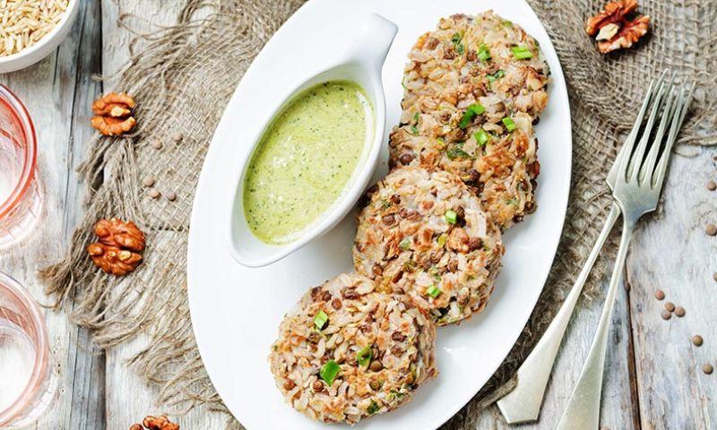 Hamburguesas vegetarianas de arroz integral y setas
