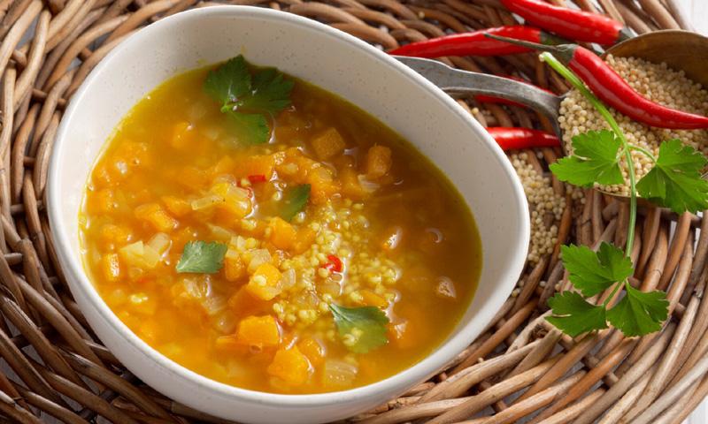 Sopa de amaranto y calabaza