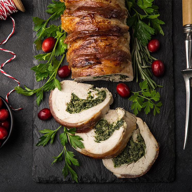 Pechuga de pavo rellena de espinacas y queso de cabra
