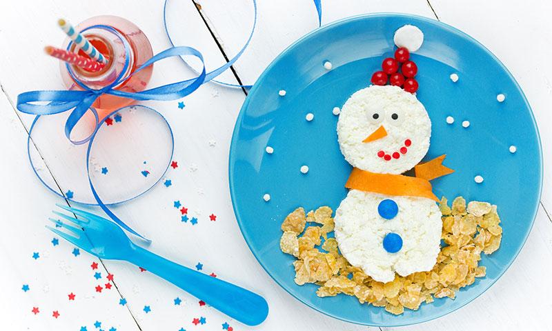 Muñecos de nieve de queso fresco