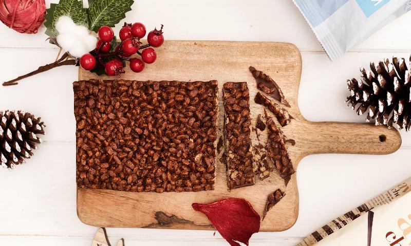 Turrón de chocolate y avena