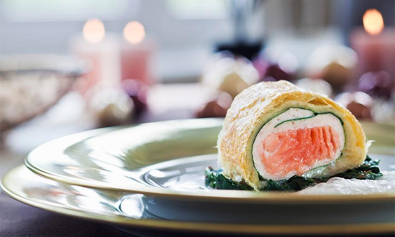 'Strudel' de salmón, queso y espinacas