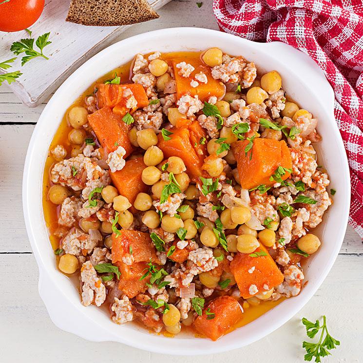 Chili de pavo con garbanzos y zanahoria