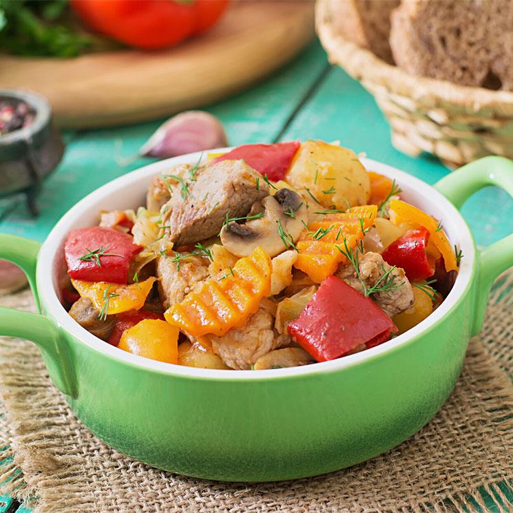 Ragú de magro de cerdo con verduras