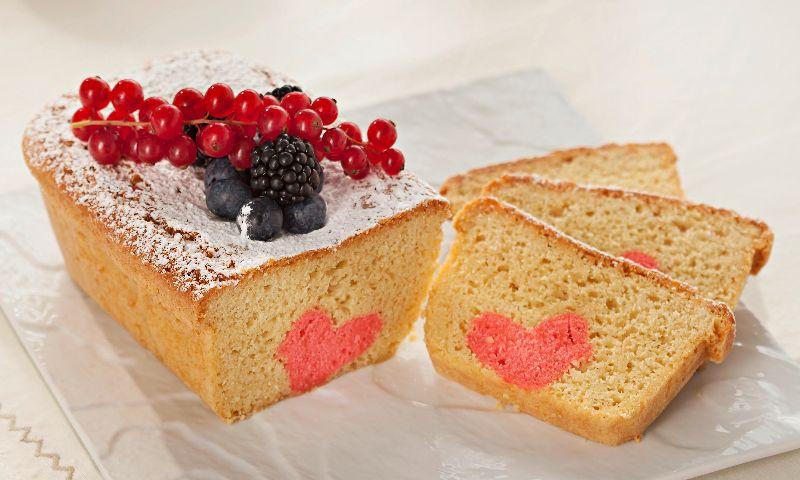 Bizcocho con corazón de San Valentín