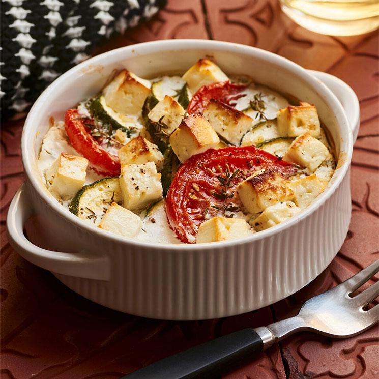 Gratinado de calabacín, tomate, queso de cabra y bulgur
