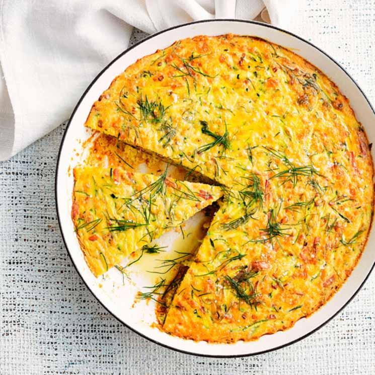 'Frittata' de calabacín con beicon y queso gorgonzola