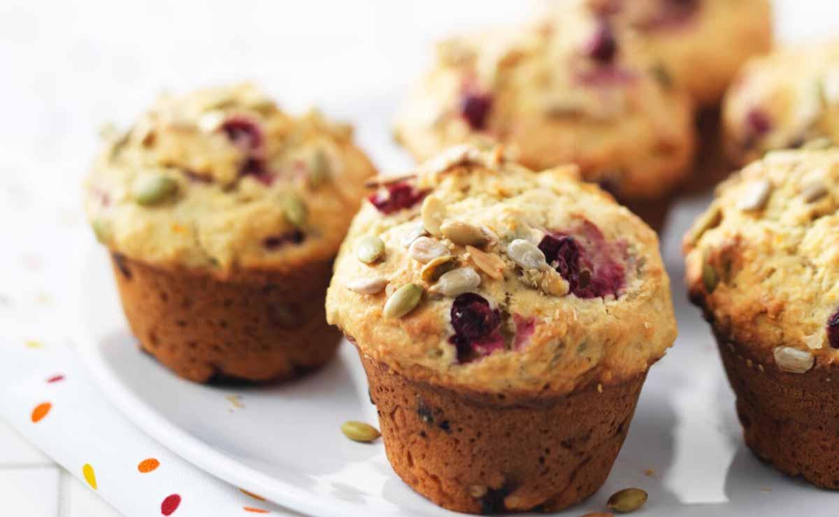 'Muffins' de arándanos y pipas de girasol