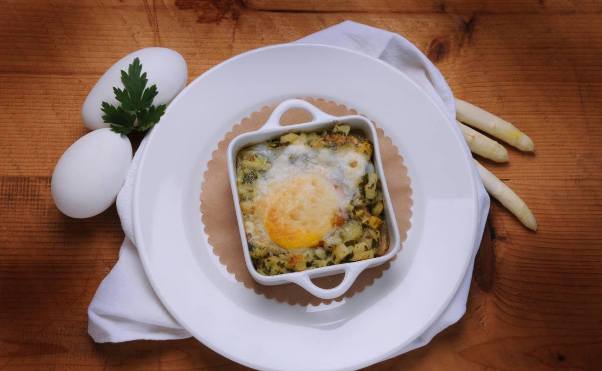 Huevos de ganso con verduras al horno