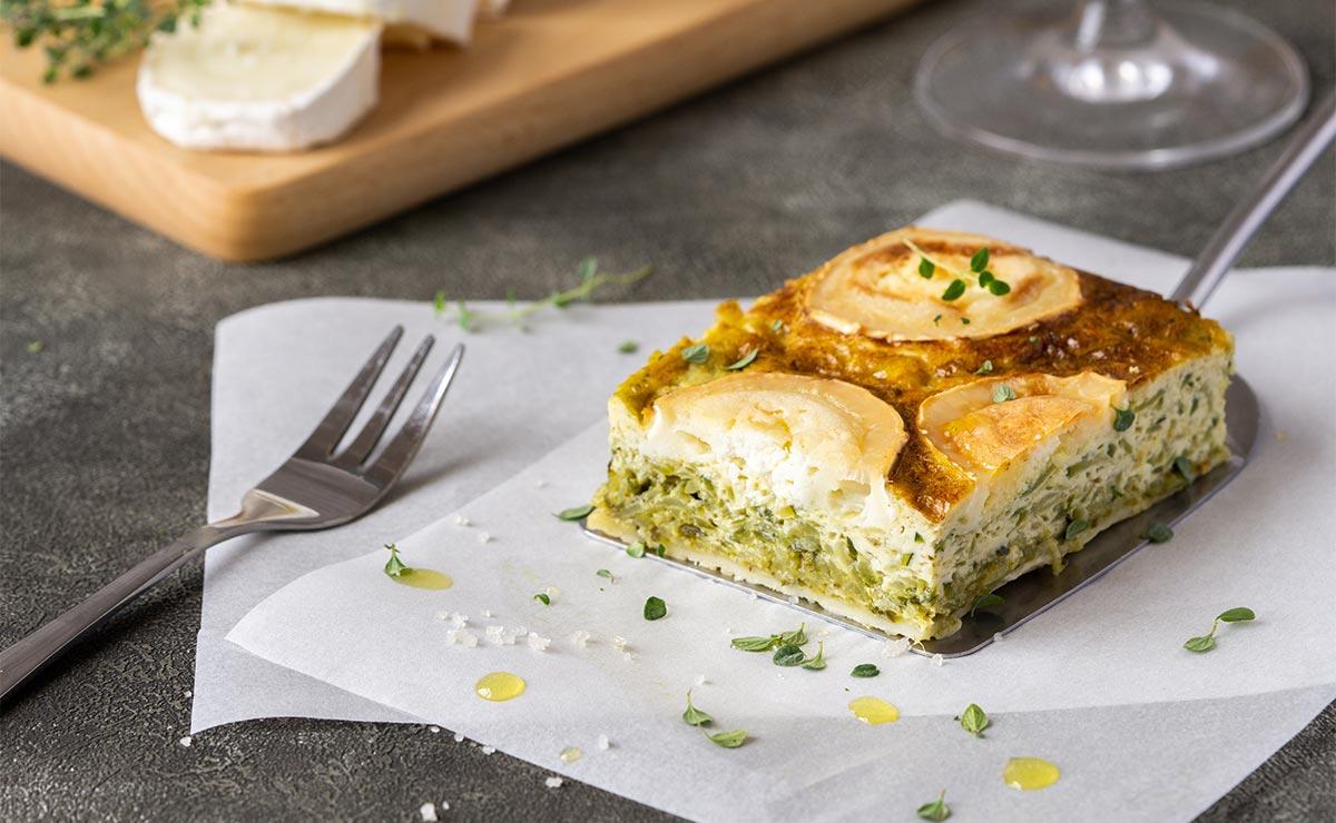 Pastel de queso de cabra y calabacín