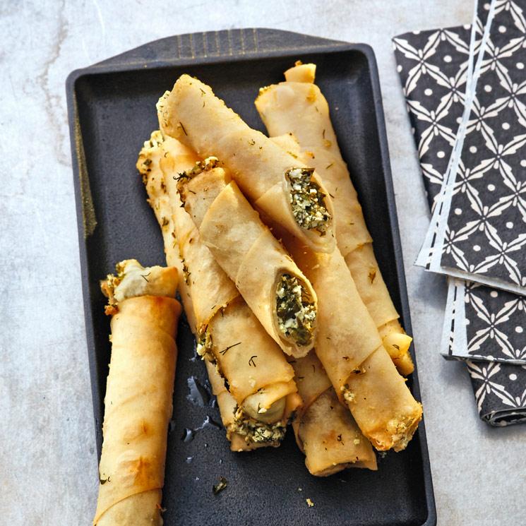 Rollitos turcos de queso feta con espinacas