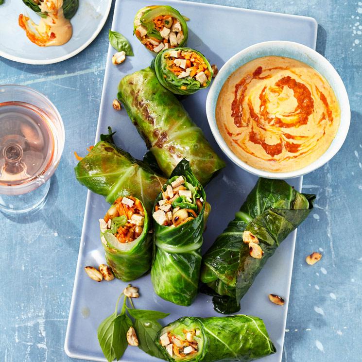 Rollitos 'veggie' rellenos de tofu y anacardos