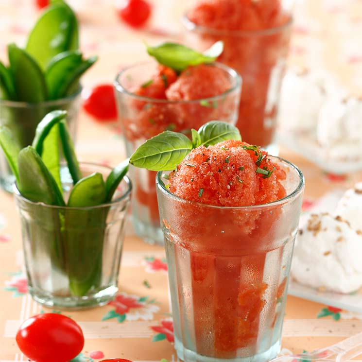 Sorbete de tomate a la albahaca