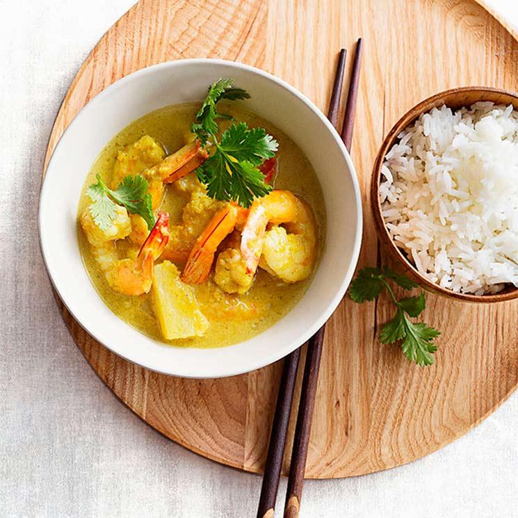 Curry de gambas con piña