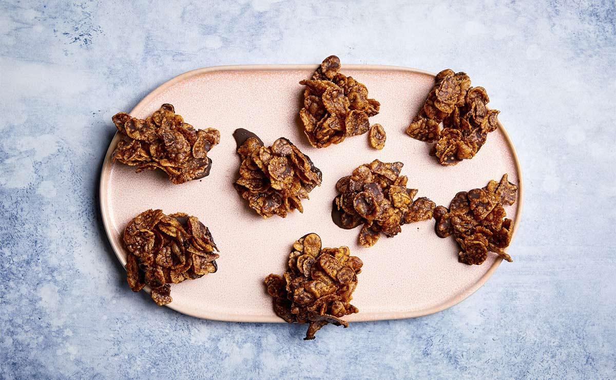 Bocaditos de cereales con chocolate sin azúcar