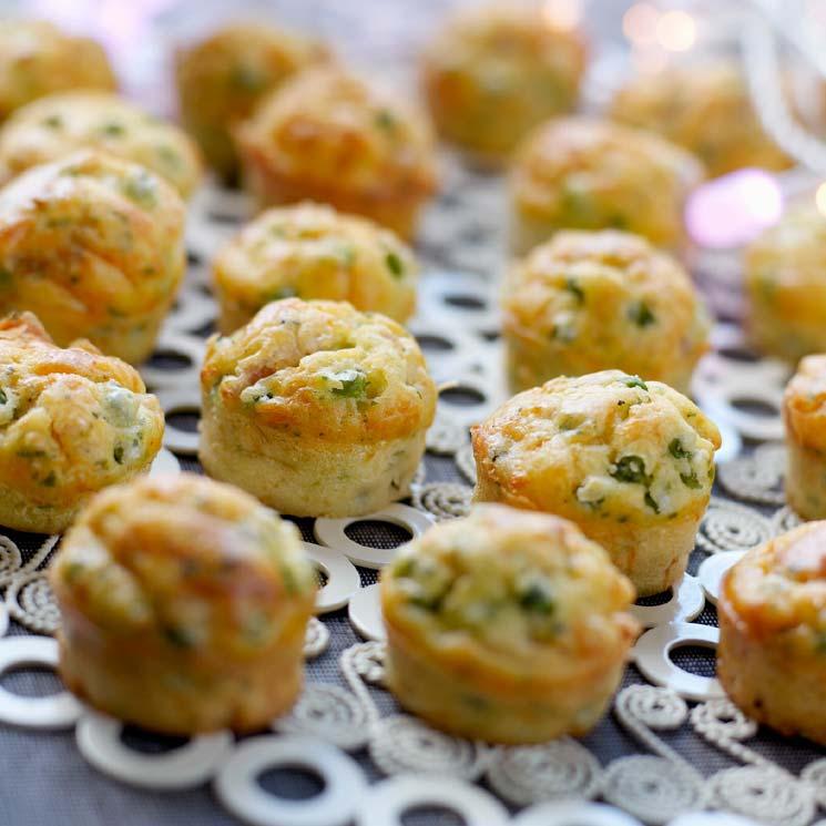 'Mini muffins' de guisantes y beicon