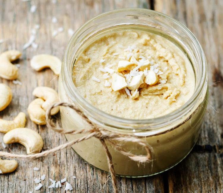 Mantequilla vegetal de coco y anacardos