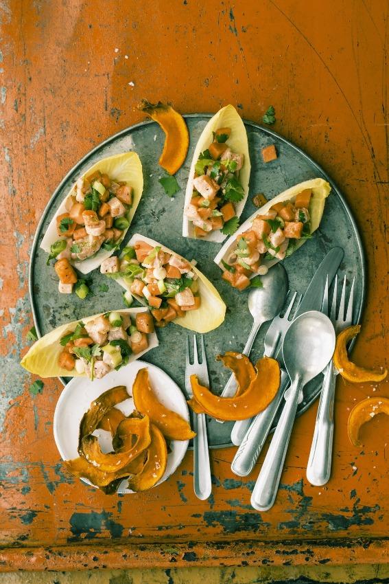 Ceviche-papaya-chips-calabaza