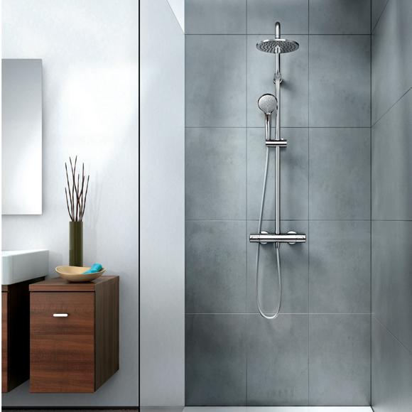 Baño Relajante Ducha: ducha, columna de ducha y ducha fija de líneas depuradas y simples