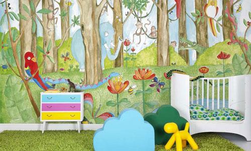 En habitaciones infantiles que reine la imaginaci n for Carta da parati murales