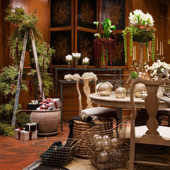 decora la navidad con plantas y frutas naturales