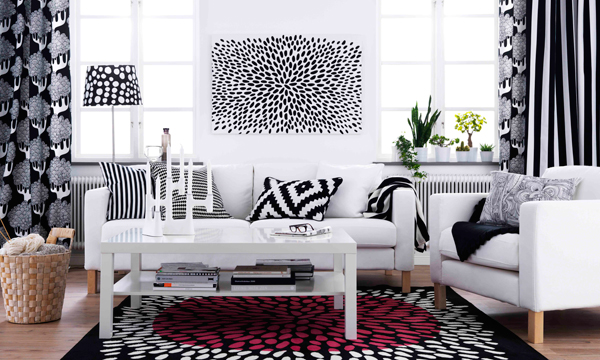 Se lleva la decoraci n en blanco y negro for Cortinas de salon ikea